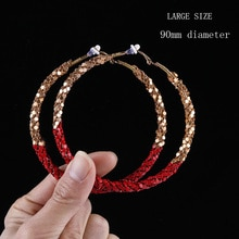 90mm grand cercle exagéré paillettes ficelle or Clip sur boucles doreilles cerceaux pour les femmes avec coussin Pad pas percé bijoux de mode