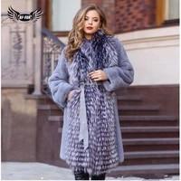 bffur fashion women real mink fur coat with sliver fox fur collar long natural genuine mink fur jacket winter woman outwear 2019