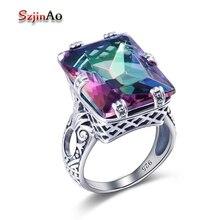 Szjinao 925 bague topaze mystique pour les femmes bijoux en argent Sterling Vintage arc-en-ciel topaze pierres précieuses accessoires de fiançailles de mariage