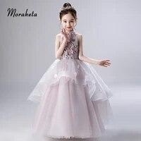 halter sleeveless ball gown floor length toddler pageant dresses 2019 princess tiered tulle long flower girl dresses