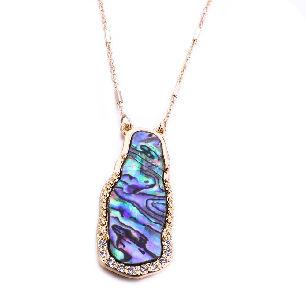 Collar de concha de abulón de piedra de kallaite verde de moda Metal dorado collar de cadena de suéter largo para joyería de mujer