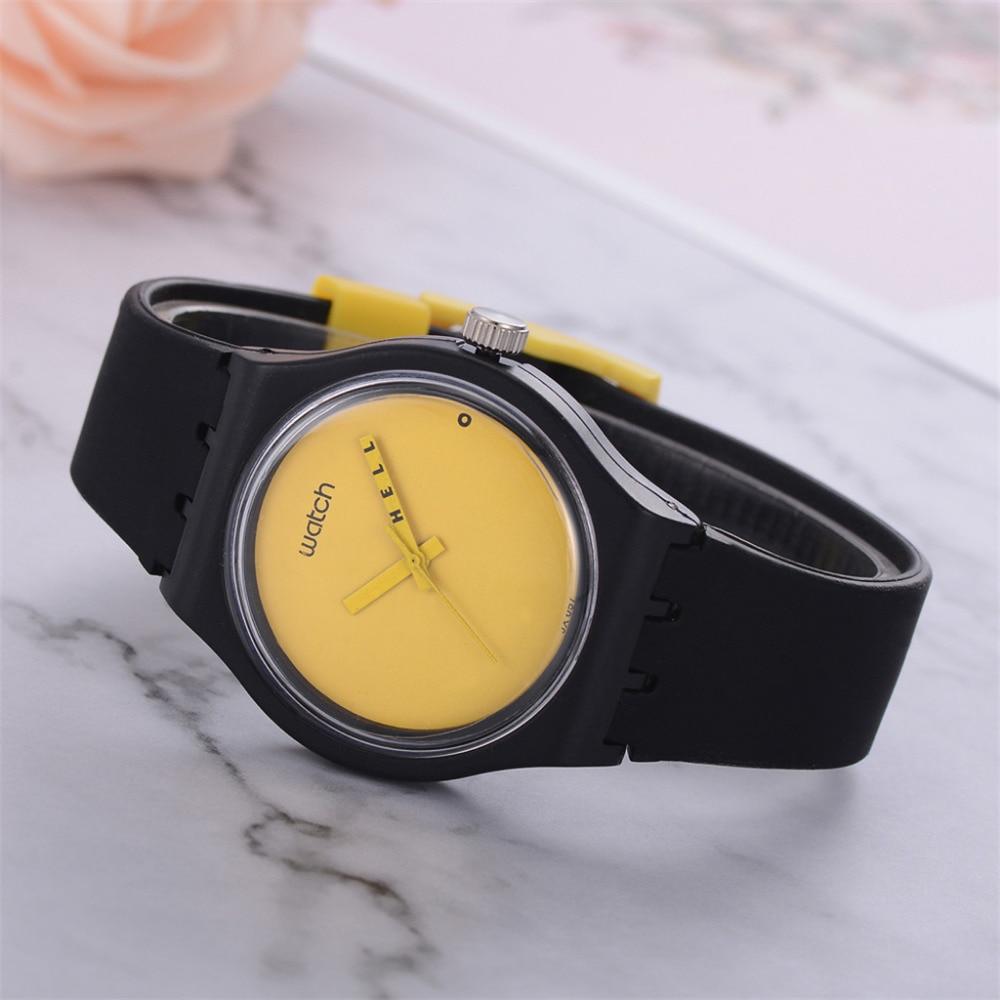 Correa de silicona analógica relojes de pulsera de cuarzo deporte bayan kol mujer color sólido dibujos animados negro y amarillo nuevo reloj B40