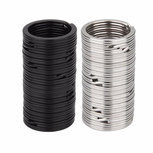 100pcs Key Rings Metal Split Rings Flat Key Chains Rings Black Silver 25mm 32mm