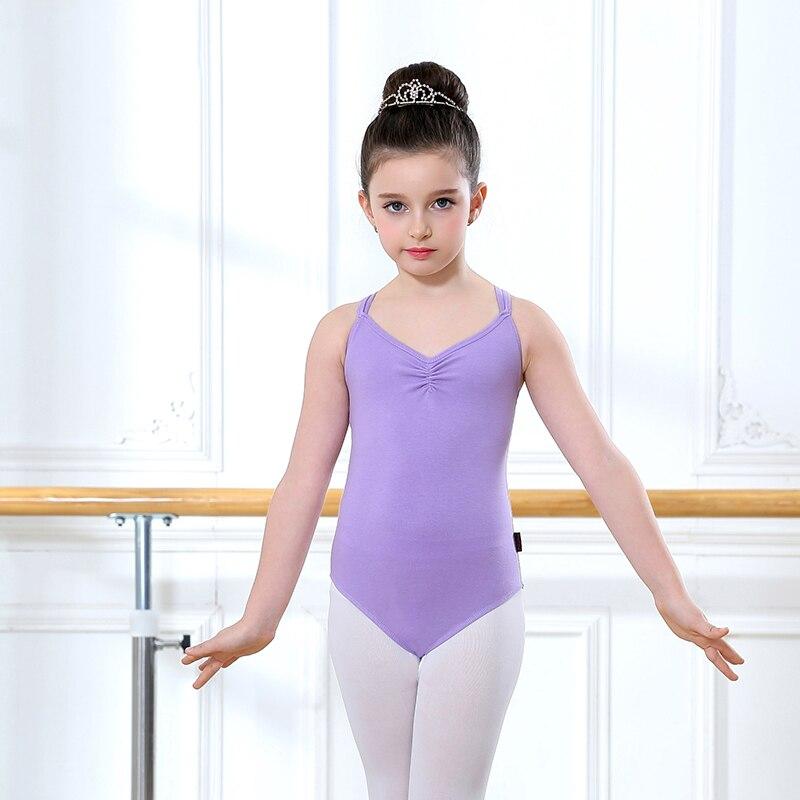 Трико для девочек, балетное трико с двойными лямками, танцевальный трико, трико с перекрестной спиной, трико для детей, хлопковый купальник ...