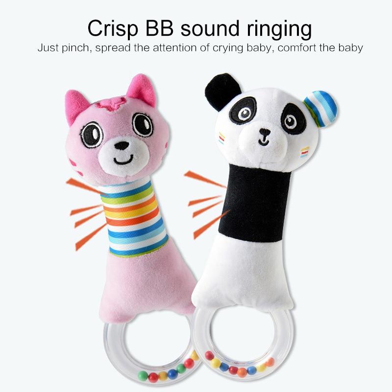 Sonajeros de bebé, palo BB s, bonitos animales de serie, cuna, cama colgante, agarre de mano, palo BB, juguete de muñeca para niños