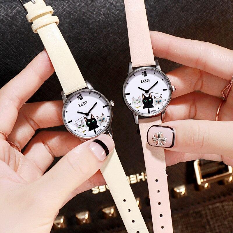 Cute Cat Women Watches Starry Sky Watch Luxury Ladies Watch Leather Band Quartz Analog Wrist Watches zegarek orologio donna