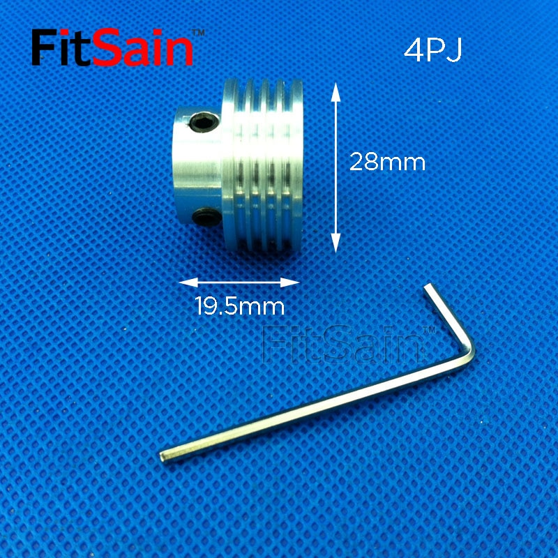 FitSain-Multi wedge 4PJ Belt pulley 28mm 4 slots for motor shaft 8/10/12 Planer belt machine power tool accessories ribbed belt