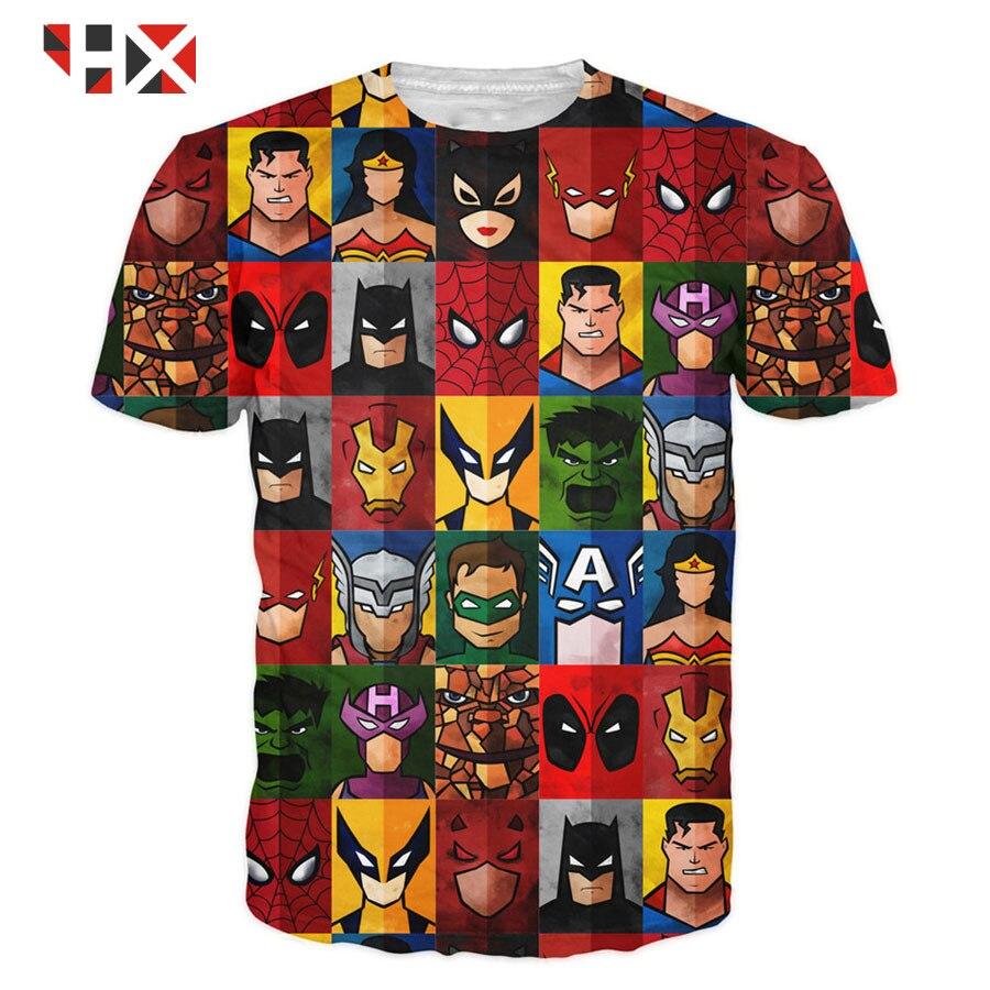 ¡Novedad! Camiseta hípster 3D HX, divertida camiseta de superhéroe Deadpool/Superman/Spider-Man/Batman/Hulk, envío directo