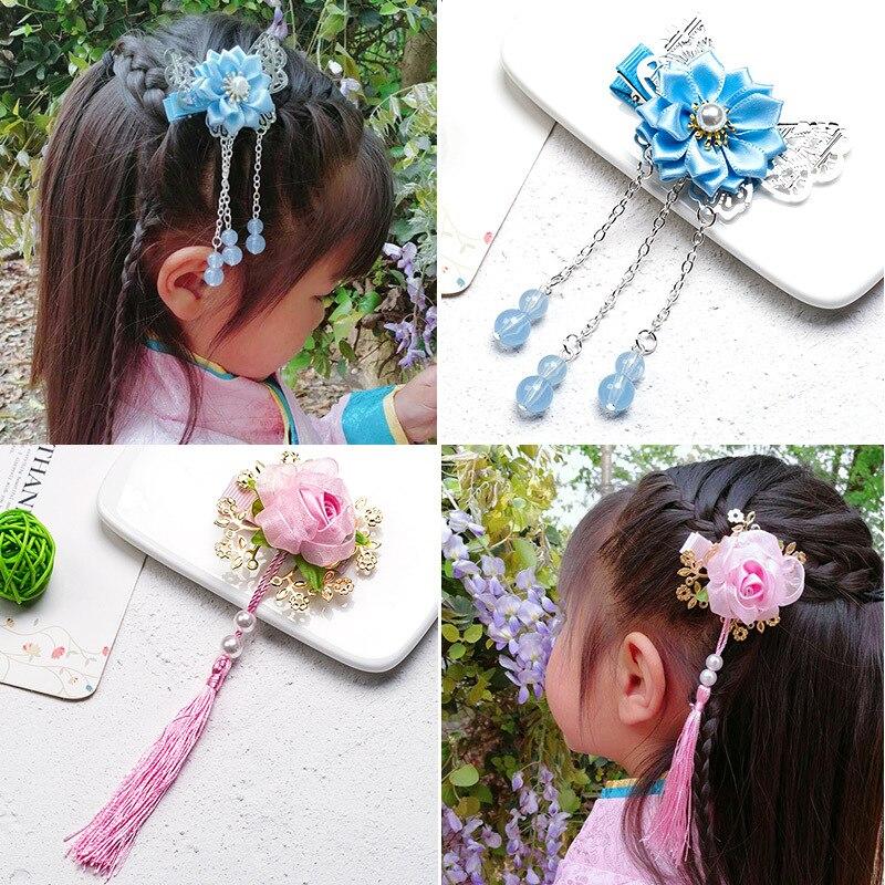 Vários estilo da criança Meninas Borlas Flor Ganchinhos Grampos de Cabelo Grampos de cabelo Tradicional Chinesa Princesa Dos Miúdos Das Crianças Acessórios Para o Cabelo
