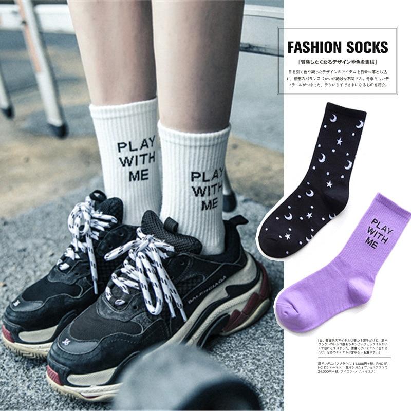 היפ הופ אופנה נשים של מכתב ירח כוכב סקייטבורד גרב Harajuku מגניב נשים לשחק עם לי שחור לבן סגול כותנה גרביים