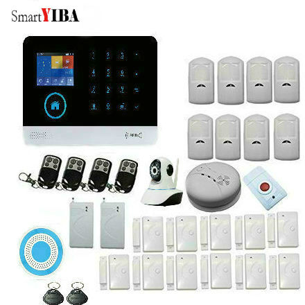 SmartYIBA Wireless GSM WIFI Home Security Surveillance Alarm System With Video IP Camera Vibration Sensor Fire Smoke Detector