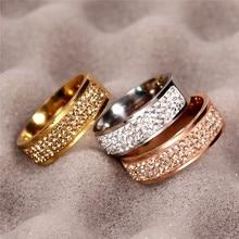 Or Rose célèbre marque Zircon anneau nouveau 8mm demi-cercle trois rangées cristal 316L en acier inoxydable bagues pour femmes hommes