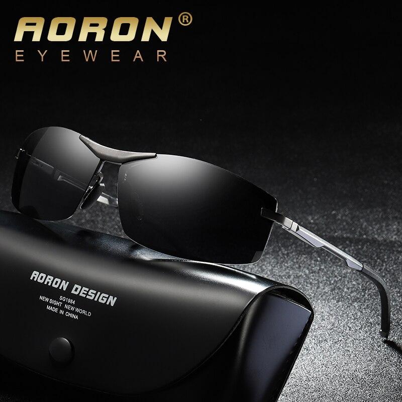 Nuevas gafas de sol polarizadas para hombre de Aoron, gafas de sol rectangulares de aluminio para hombre, gafas de sol UV400