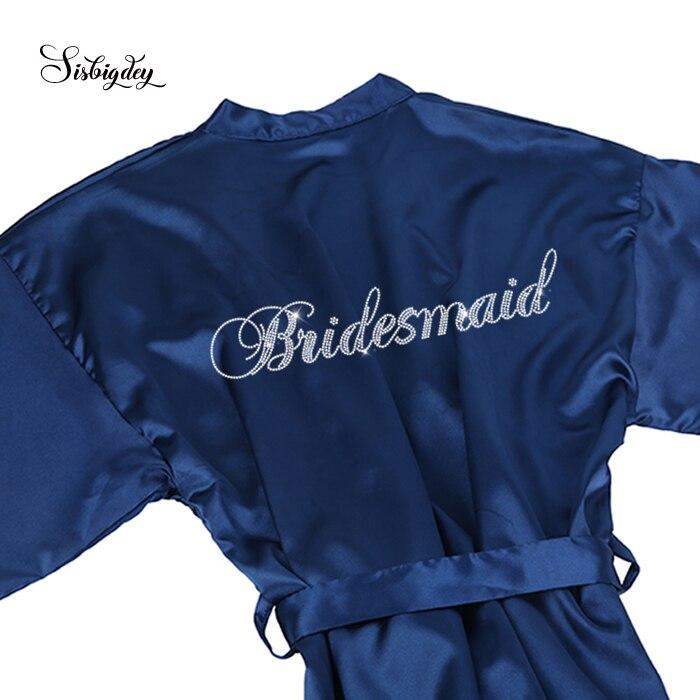 Sisbidey, batas de novia azul marino con diamantes de imitación para mujer, batas cortas para regalo de boda, vestido de fiesta nupcial para novia, bata para madre hermana de la novia