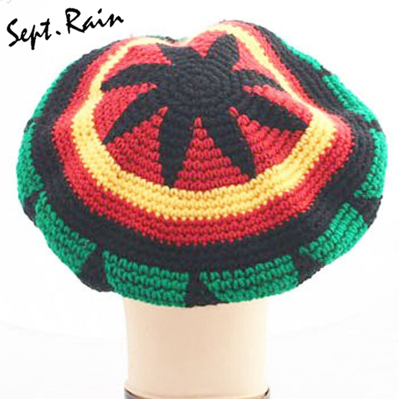 Fashion Unisex Jamaica Rasta Gorro Slouch Beanie Hat Winter Warm Knitted Reggae Multi-colored Striped Hip Hop Baggy Cap