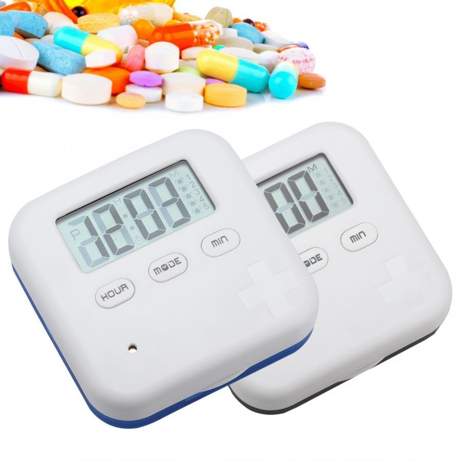 Caja organizadora de 4 rejillas para tableta de medicina diaria, caja organizadora con temporizador, caja de almacenamiento de medicinas