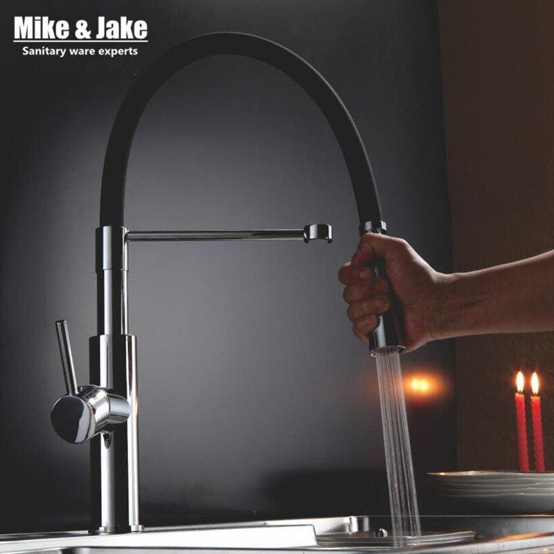 Nuevo grifo de agua negro para cocina, grifo mezclador de cocina, grifos extraíbles para grifos de fregadero, grifos de cocina calientes y fríos MJ907