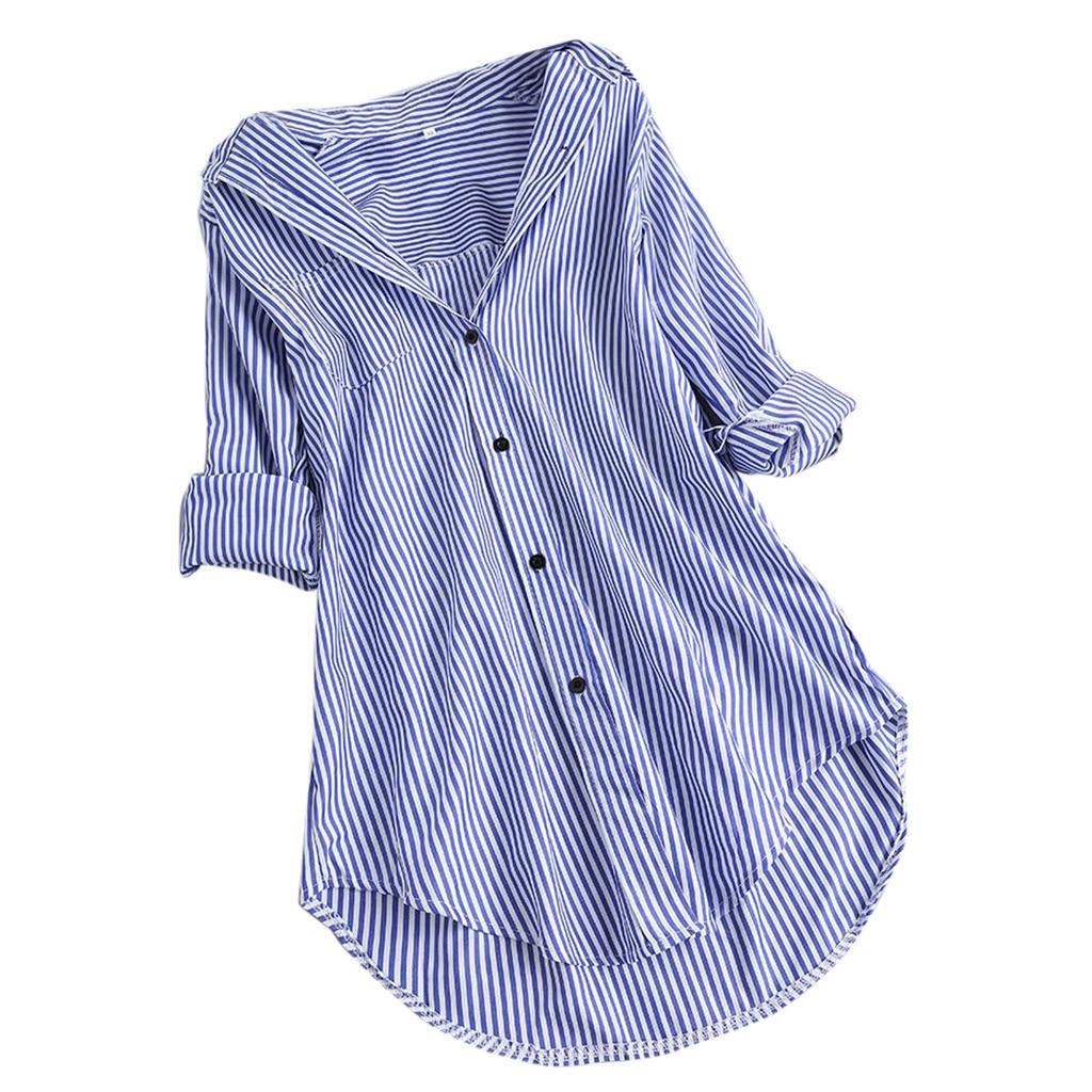 Moda das mulheres topos e blusas 5xl feminino chique listra manga longa turn-down colarinho botão escritório senhora camisas blusa