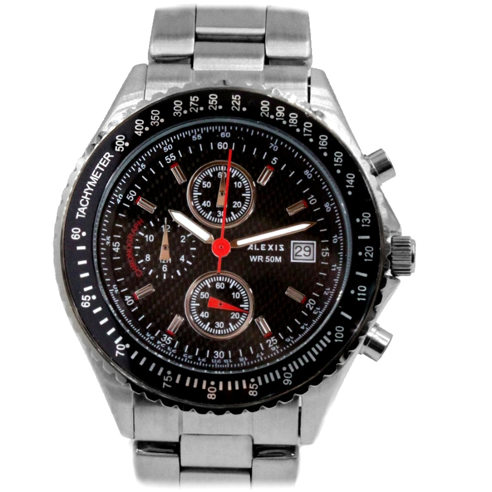 Alexis Miyota 0S10 Chronograph Fashion Men Analog Quartz Round Watch WIth Date Stainless Steel Band Dive Swim Water Resistant enlarge