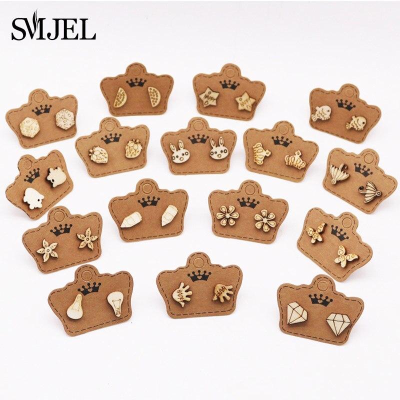 SMJEL Cute Small Wood Earrings for Women Diomand Star Animal Stud Earrings 2019 Pendientes Ear Jewel