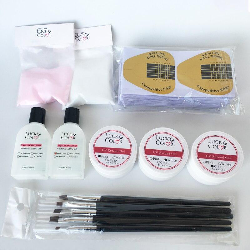 Pegamento de extensión de uñas de cristal para manicura y Arte para uñas Set de Gel constructor con polvos de Color y Kits de líquido Acrílico