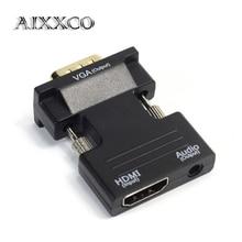 AIXXCO HDMI femelle vers VGA mâle avec adaptateur convertisseur Audio prise en charge de la sortie du Signal 1080 P