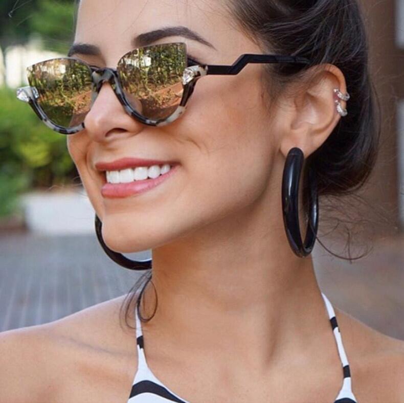 BOYEDA 2017 las nuevas mujeres de diseñador de marca Vintage medio marco lentes de sol para dama Sexy de ojo de gato gafas de sol Retro de moda de gafas