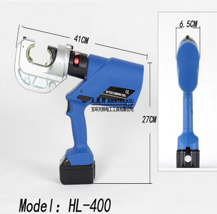 Rechargeable Hydraulic Plier Electric Crimping Tool Battery Powered Wire Crimper with 16-400mm2 Crimping Range HL-400