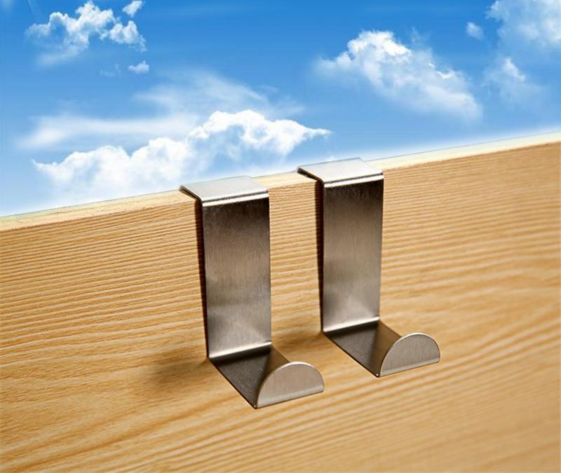 2pcs Home Stainless Steel T Door Balcony Hooks Cloakroom Hat Clothes Pothook  Z-type Hanger S
