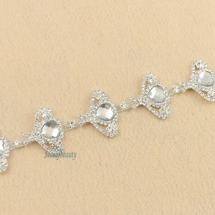 Faja de boda de diamantes de imitación con adorno de cristal de corazón con apliques de novia de 1 yarda preciosa