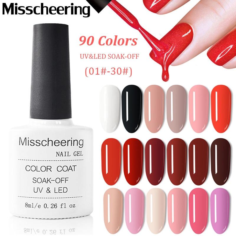 90 Colors 8ml Nail Gel Polish Soak Off UV Gel Nail Polish Lacquer Varnish Pure Color UV Vernis Manicure Nail Art Designs 01#-30#