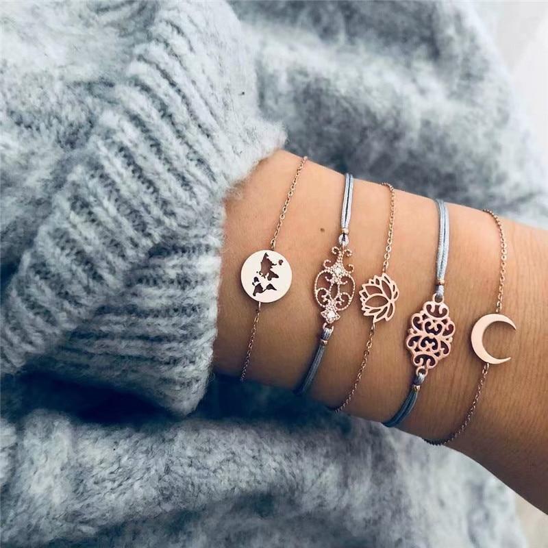 HOCOLE 5Pcs/Set Fashion Gold Link Chain Bracelet Sets Female Handmade Moon Flower Metal Rope Bracelets For Women Wedding Jewelry