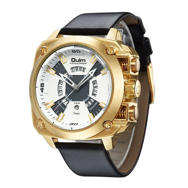 Oulm relógios homens tamanho grande militar relógio de quartzo criativo data automática couro relógio de pulso masculino do esporte relogio masculino