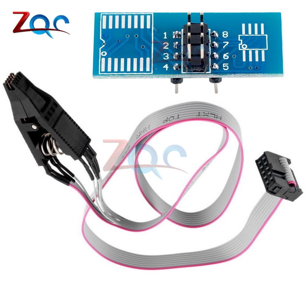 SOIC8 SOP8 DIP8 Format Flash Chip IC Test Clips Socket Adpter BIOS 24 25 93 USB Programmer Programable TL866CS TL866A EZP2010