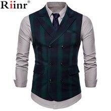 Riinr 2019 Men Vest Red Plaid Vest Single Breasted V-neck Collar Casual Style Slim Fit Wedding Party Wear Plus Size Vest Men