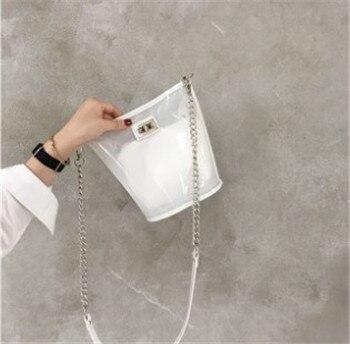 Transparent bucket stuffed Bun master bag ins chain single shoulder diagonal cross pack Women Latest Design PVC Handbag bolsa