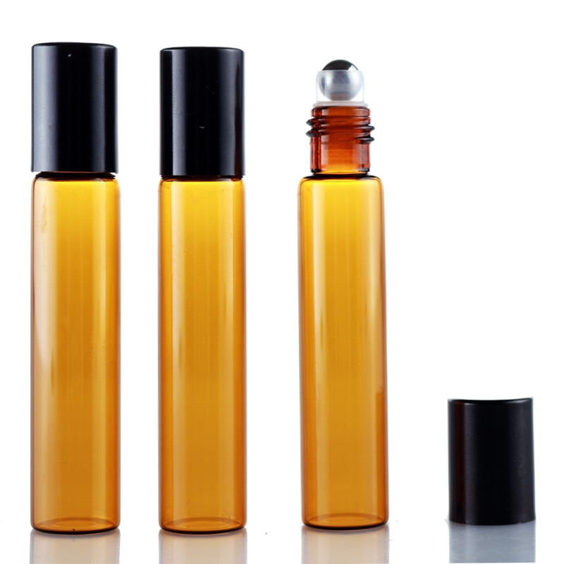 Atacado 100 peças/lote 10 ml rolo em vidro âmbar portátil recarregável garrafa de perfume vazio óleo essencial caso com tampa de alumínio