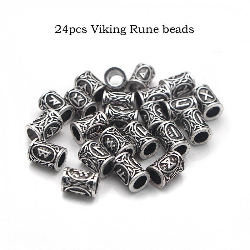 24 style full set Viking Runes beads charms for Beards or Hair TIWAZ TYR Sol rune Odal Futhark Rune necklace 1pcs of each design