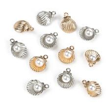 11*15mm 10 pièces alliage métal émail or coquille pendentif à breloque pour bricolage perles boucle doreille Bracelet collier bijoux résultats faisant