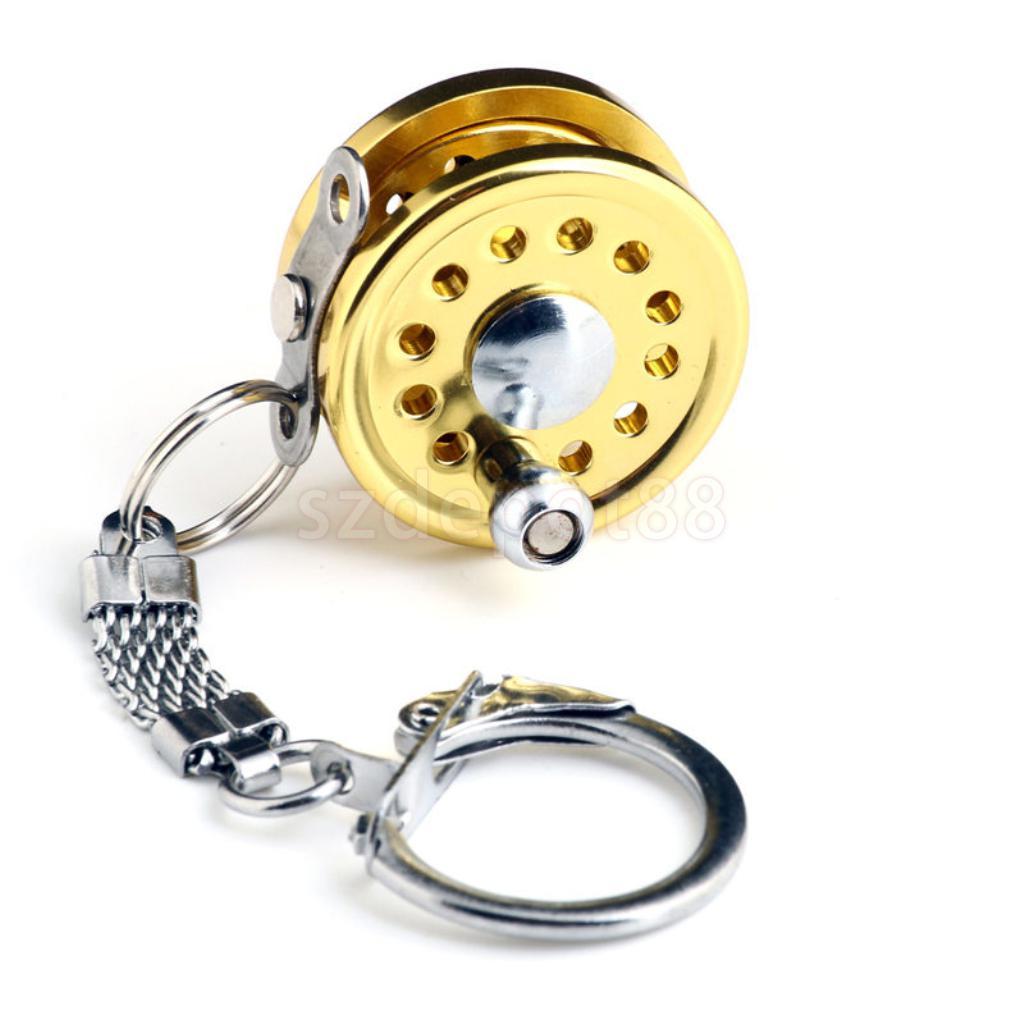 Mini carrete de pesca con mosca de personaje en miniatura de clave de la cadena de oro llavero con anilla para llaves