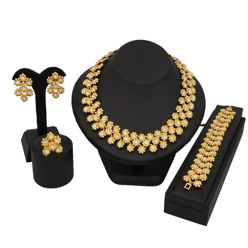 Conjuntos de joyas de boda para novia, pendientes, anillo de color dorado, conjunto de joyas de moda para mujer, conjuntos de joyería delicada, collar para mujer, conjuntos de joyas