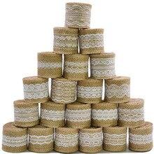 2m 5cm fita de serapilheira juta rústico do vintage casamento diy artesanato decoração hessian laço juta rolo feliz natal casa fontes de festa