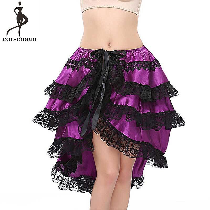 Falda púrpura Steampunk satén capas mujeres faldas Cierre de cinta de talla grande 6XL Fiesta Club rendimiento Sexy adultos Falda de baile