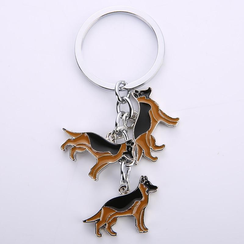 German Shepherd Dog pendant keychain key rings for car white gold color metal alloy bag charm men women key chains keyring 2019