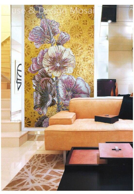 Mural de flores Althea de Italia Customs, mosaico de cristal, arte de pared para baño, sala de estar, piso, techo, azulejo de pared