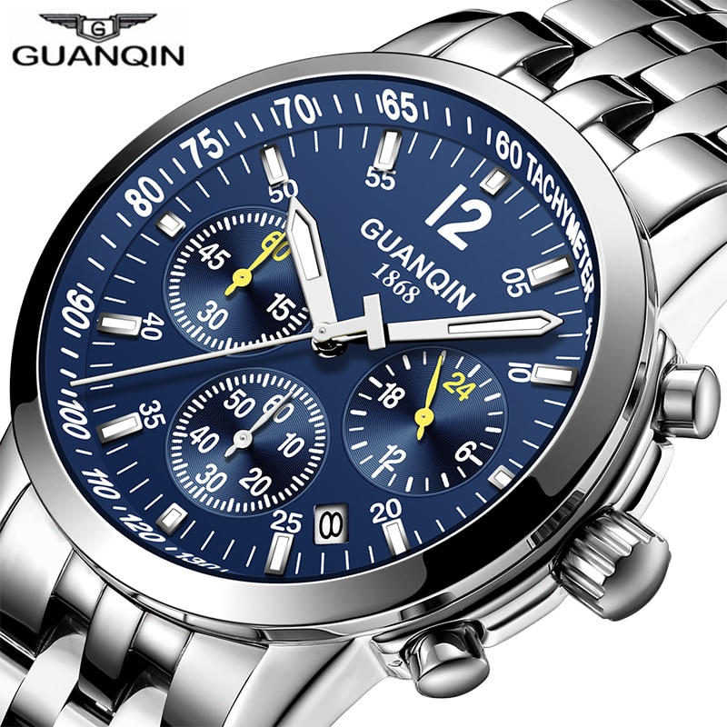 GUANQIN 2019 reloj de negocios para hombre, reloj de cuarzo, reloj deportivo resistente al agua, cuero de lujo, 316L, reloj Masculino de acero