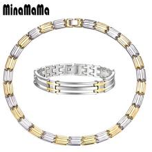 Ensembles de bijoux en acier inoxydable pour hommes ensemble de bijoux Vintage en or argenté mélange de couleurs grosses chaînes pour femmes colliers ensembles de bracelets