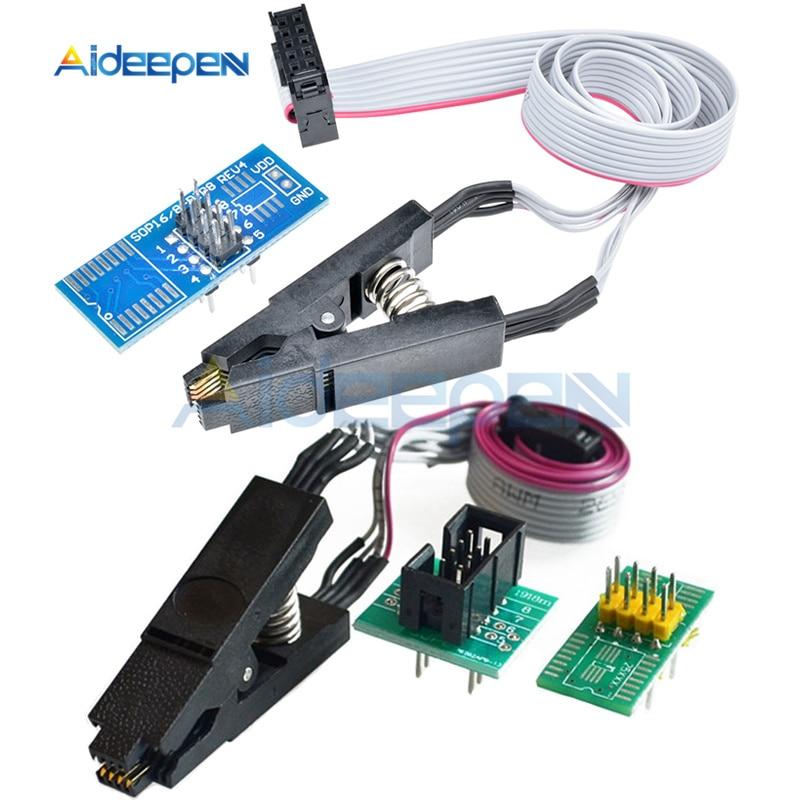 SOIC8 SOP8 Clip prueba formato chip flash IC Socket adaptador BIOS 24 25 93 PROGRAMADOR USB Programable módulo TL866CS TL866A