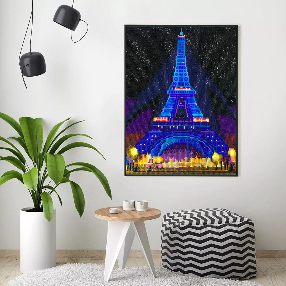 HUACAN bordado con diamantes punto de cruz LED luz diamante pintura Torre Eiffel taladro redondo mosaico de diamante 30x40cm con marco