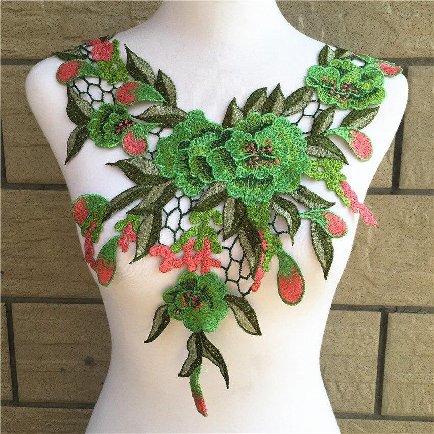 1 unidad de apliques de bordado de flores verdes Pacthes tela de encaje cuello adorno de collar Scrapbooking Diy ropa costura